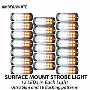 20pcs 12 Led Strobe Lights White Amber Emergency Flashing Warning Truck 12v 24v