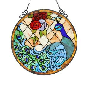Stained Glass Peacock Rose Round Window Panel Handcrafted Tiffany Style 24