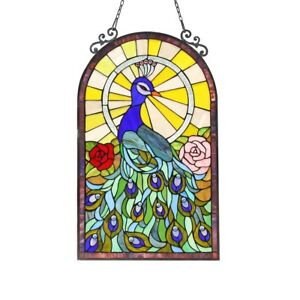 Stained Glass Peacock Roses Window Panel Handcrafted Tiffany Style 20 X 32