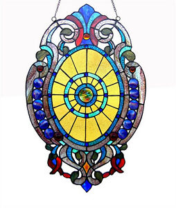 Tiffany Style Stained Glass Oval Window Panel Design 15 X 23 Only One This Price