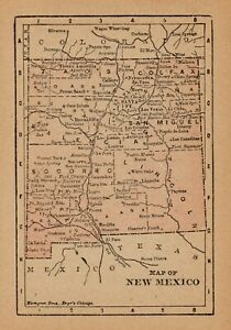 1888 Antique New Mexico State Map Rare Miniature Map Of New Mexico 6503