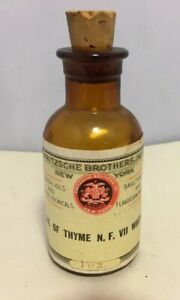 Antique Amber Apothecary Pharmacy Medicine Bottle Oil Of Thyme