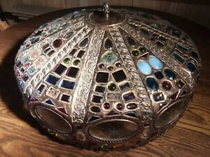 Antique Arts Crafts Faceted Jeweled Art Glass Copper Lamp Shade Table Hanging