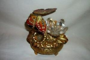 Automaton Butterfly Metal Crystal Flower Music Box Mechanical Mid Century Japan