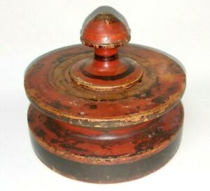 Early 19th C Antique Treenware Lidded Jar Painted Treen Wood Spice Apothecary