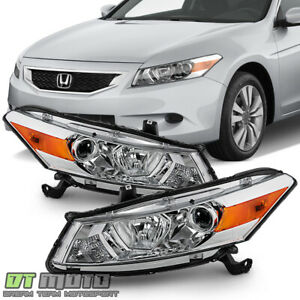 For 2008 2012 Honda Accord 2 door Coupe Chrome Headlights Headlamps Left right