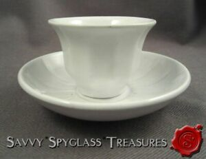 Antique White Ironstone Pearlware Tiny Child S Handleless Cup And Saucer Davenpo