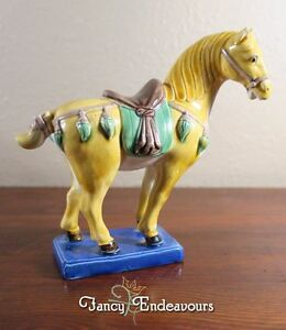 Vintage Chinese Porcelain Tang Horse Figurine With Sancai Type Glaze