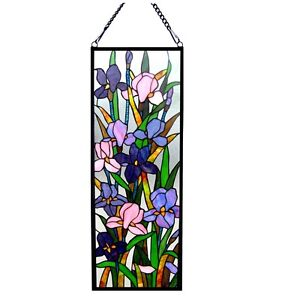 Tiffany Style Iris Stained Glass Window Panel 11 5 X 31 5 Last One This Price