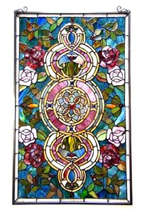 Tiffany Style Stained Glass Window Panel Floral Medallion 20 W X 32 L Pair