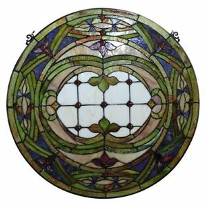 Victorian Hand Crafted Stained Glass 24 Round Window Panel 268 Pieces Cut Glass