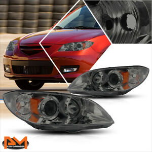 For 04 09 Mazda 3 Sedan 4 Dr Smoked Lens Amber Corner Projector Headlight Lamps