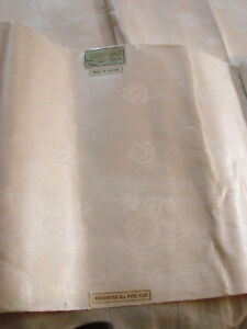 Vintage 20s Fabric Damask Flax Ireland Nos Rose Pattern Panels 7 Yd