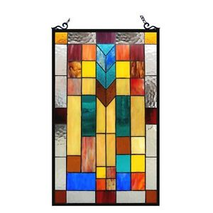 Pair Stained Glass Tiffany Style Window Panels Modern Arts Crafts Design