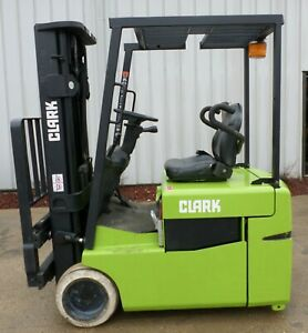 Clark Model Tmg15 2001 3000 Lbs Capacity Great 3 Wheel Electric Forklift