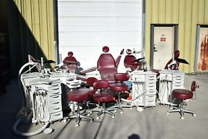 Lot Of 6 Burgundy Biscayne Dental Exam Chairs W 5 Delivery Carts