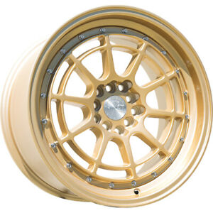 16x8 Gold Aodhan Ah04 Wheels 4x100 4x4 5 15 Fits Ford Mustang 4 Lug Only