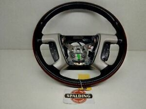 Escalade 2007 08 09 10 11 12 13 14 Leather Wood Wraped Steering Wheel 5952667