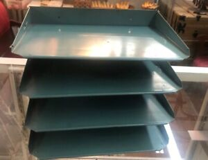 Vintage Metal Green Industrial 4 Tier Office Letter Paper File Tray Organizer