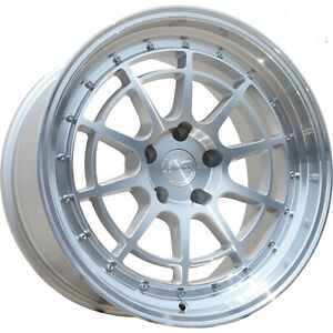16x8 Silver Aodhan Ah04 Wheels 4x100 4x4 5 15 Fits Ford Mustang 4 Lug Only
