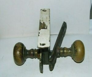 Vintage Old Door Knobs Set With Back Plates Catches Knobs Metal Old Type