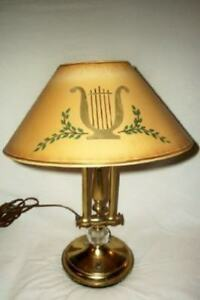 Mid Century Piano Lamp Brass Crystal Paper Tole Lyre Harp Shade Unusual Vintage