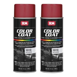 Sem 15113 Color Coat Firethorn Red Spray Paint Aerosol Can 12 Oz 2 Cans