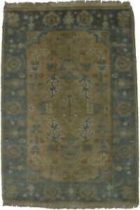 Small Hand Knotted Oushak Chobi Design 2x3 Indian Area Rug Oriental Home Carpet