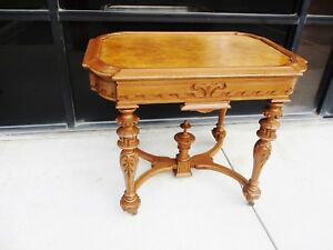 Renaissance Revival Victorian Burl Walnut Parlor Table Finial Incisings Eastlake
