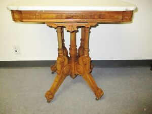 Sale 1880 S American Walnut Victorian Renaissance Revival Parlor Table Marble