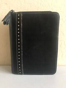 Compact Unstructured 1 5 Rings Franklin Covey Black Leather Organizer Planner