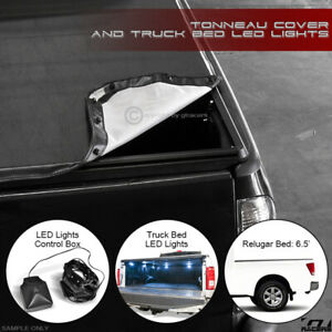 Snap On Tonneau Cover Led Lights For 2004 2015 Titan King Extended 6 5 Truck Bed