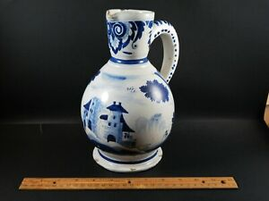 Large Antique Dutch Delft Blue White Pitcher With House And Figure 18th 19th C