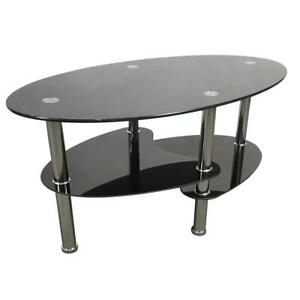 Dual Fishtail Style Tempered Glass Coffee Table Black Home Use Office