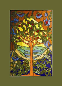 Tiffany Stained Glass Glass Window Panels Tree Of Hope 20 X 32 Matching Pair