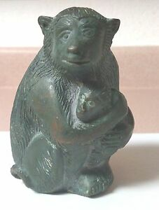 Vintage Brass Mother And Baby Monkey Statue