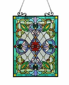 Tiffany Style Victorian Design Stained Glass Window Panels 18 W X 26 H Pair