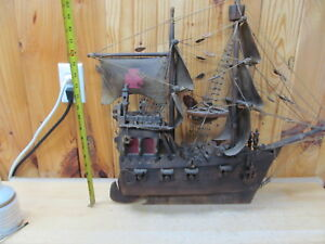 Antique Or Vintage Wood Spanish Barque Sailing Ship Wood Model 2 Mast Cannon