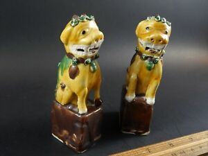 Pair Antique Chinese Export Sancai Glazed Biscuit Porcelain Buddhistic Foo Lions