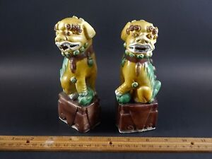 Antique Chinese Export Sancai Glazed Biscuit Porcelain Buddhistic Foo Lions 6