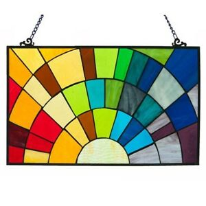Stained Glass Rainbow Window Panel Handcrafted Tiffany Style 20 X 12