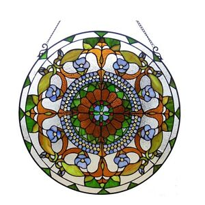 Round Victorian Tiffany Style Stained Glass Window Panel Last One This Price