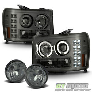 Smoked 2007 2013 Gmc Sierra Led Drl Halo Projector Headlights bumper Fog Lights