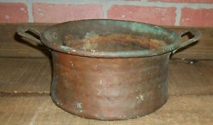 Antique Hammered Copper Side Handles Heavy Primitive Pan