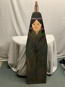 Vintage Durex Ironing Board Indian Woman Folding Wood And Metal Farmhouse