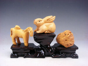 3 Japanese Boxwood Hand Carved Horse Rabbit Dragon Netsuke W Wooden Stand S6