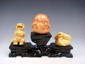3 Japanese Boxwood Hand Carved Tiger Buddha Snake Netsuke W Wooden Stand S7