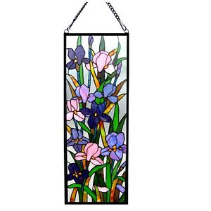 Handcrafted Iris Floral Tiffany Style Stained Glass Window Panel 11 5 X 31 5