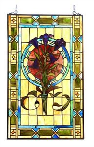Pair Tulip Design Tiffany Style Stained Glass Window Panels 20 Wide X 32 Tall