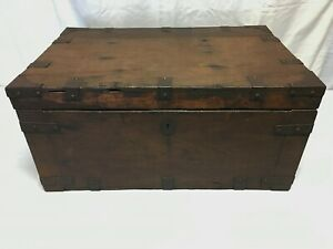 Old Wooden Strong Box W Iron Straps Fittings Treasure Chest Wood Storage Trunk